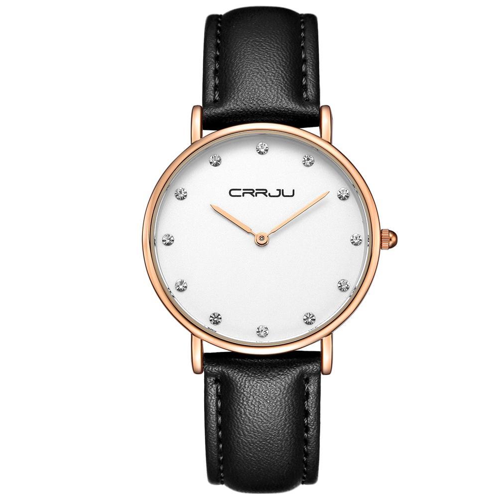 Crrju Frauen Luxus Strass Quarz Uhren Dame Ultradünne Mode Klassische Kleidung Lederband Armbanduhr Relogio Feminino