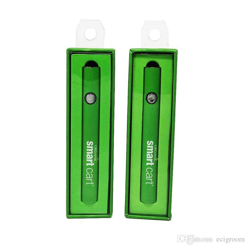 Inteligente carrinhos bateria com carregador cabo 380mAh CO2 Oil Pré-aqueça ajustáveis Cigarros Tensão E Vape bateria Fit cartuchos de 510 fios