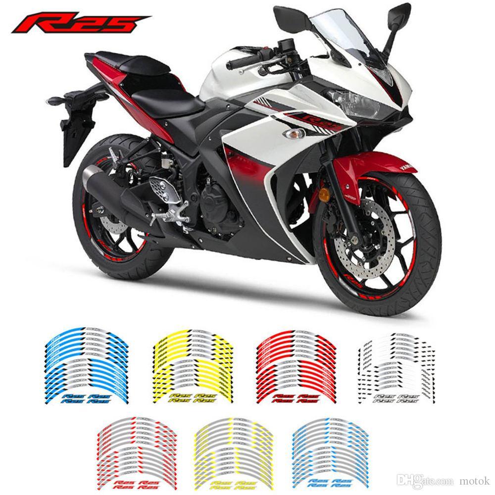 Творческих моды гоночных шины тенденция фильма декоративного цвета письмо мотоцикл наклейка внутреннего край отражательная деколи для YAMAHA YZF R25