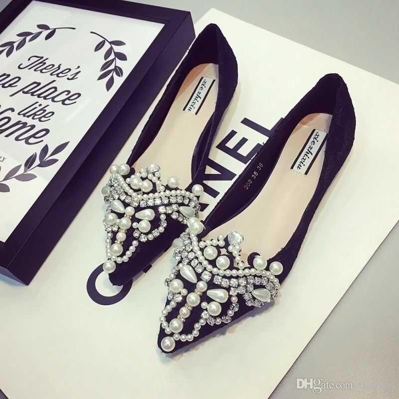 Los zapatos del diseñador de las mujeres de los holgazanes del dedo del pie del punto Alpargatas con perlas de fondo zapatos de ballet planos de las mujeres del cordón del vestido del partido Q-411