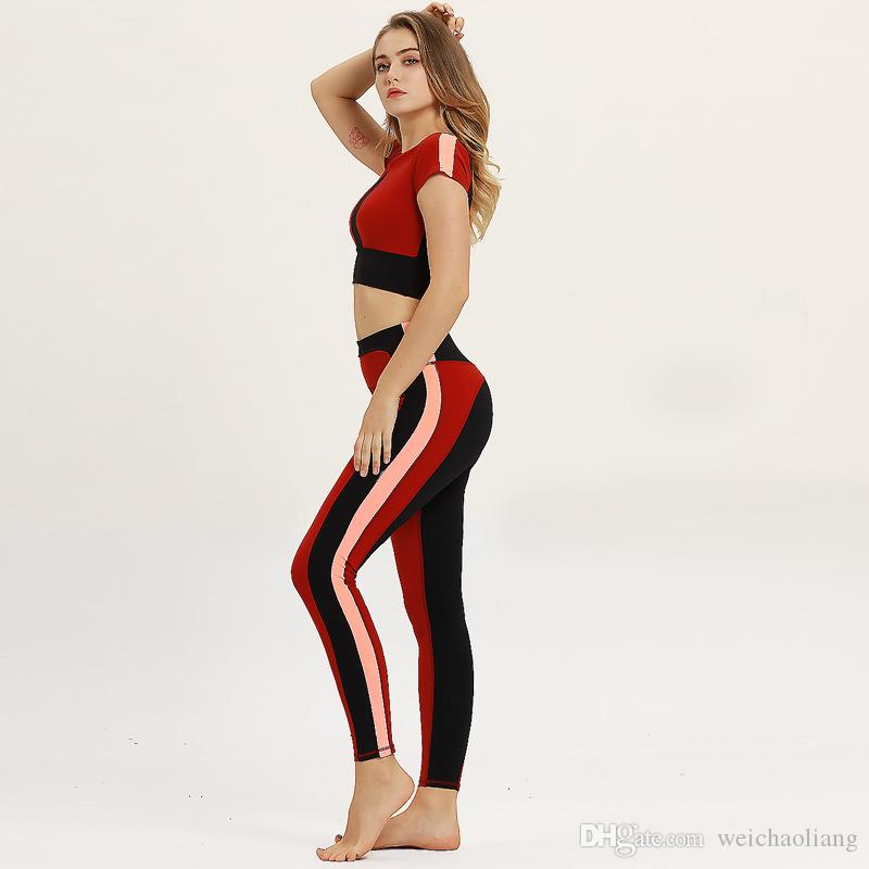 Lcw Women's New design Fashion sexy comfortable soft camouflage printed yoga pants casual fitness bra sports suit red blue three size