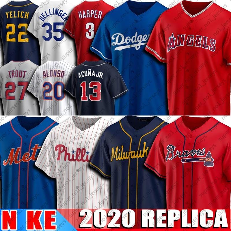 13 Ronald Acuna Jr. Jersey 20 Pete Alonso maglie 22 Christian Yelich 35 Cody Bellinger 3 Bryce 27 Mike Trout Harper Jersey di baseball 2020