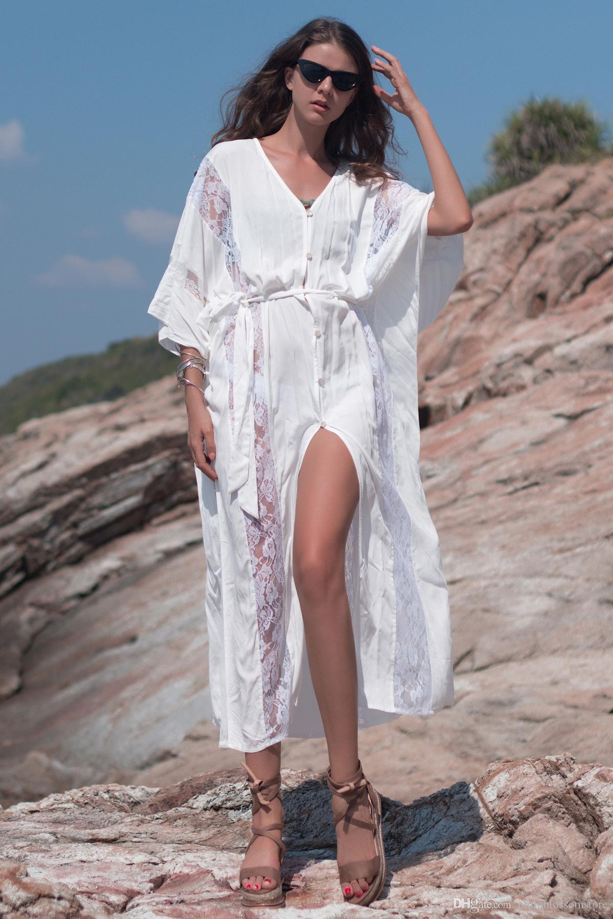 Tunics for beach Long Lace Beach Dress Swimwear Women Swim Cover up Plus size Lace Embroidery Cardigan Kaftan Holiday Beach Cover up