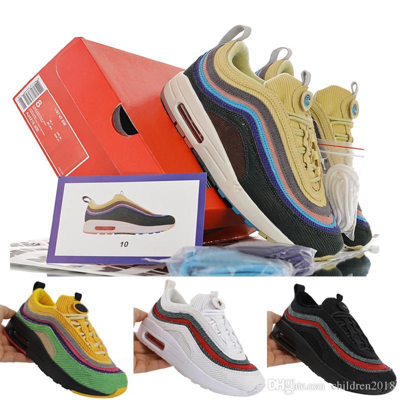1/97 Sean Wotherspoon Çocuklar için Erkek Kız Bebek Koşu Ayakkabıları 2019 Atletik Ayakkabı 97 VF SW Çocuk Spor Sneakers Boyutu 28-35
