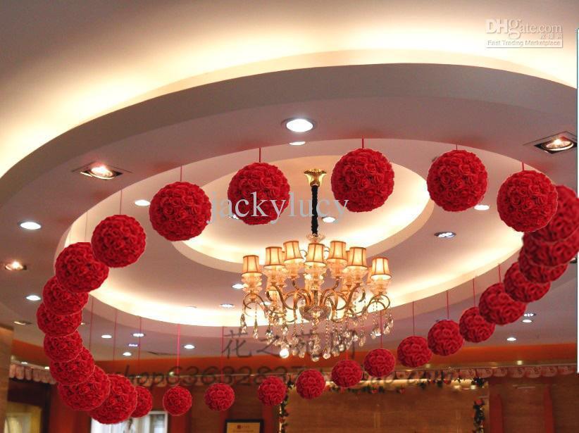 """أحمر وردي أبيض أرجواني اللون الأصفر 30 CM 12 """"الحرير الاصطناعي روز زهرة التقبيل كرات عيد الميلاد الحلي حفل زفاف Decoratio"""
