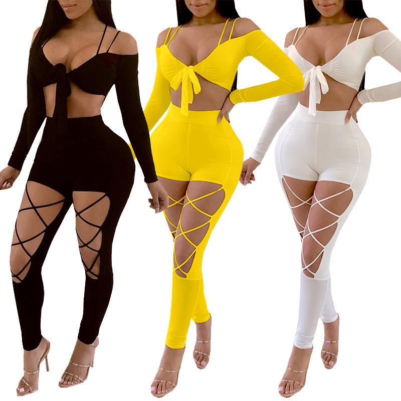 Partido Nightclub 2 conjuntos de peças Mulheres 2020 Verão Outfits Bow Tie Top Curto e oco Out Pant Set Sexy Two Piece Set top e calça