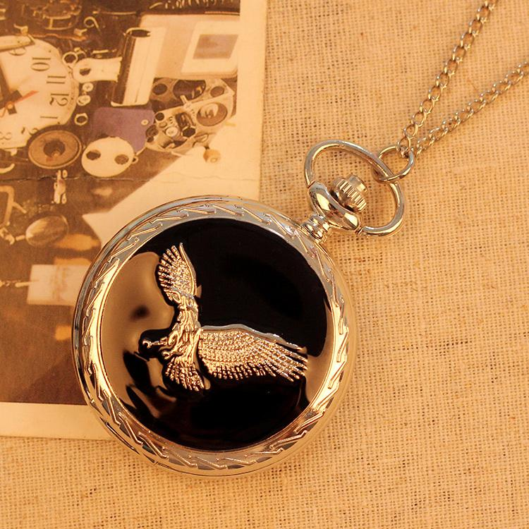 2019 de moda de lujo de los hombres de la vendimia del collar del bolsillo de moda de acero inoxidable reloj de bolsillo del reloj del águila Relogio Masculino