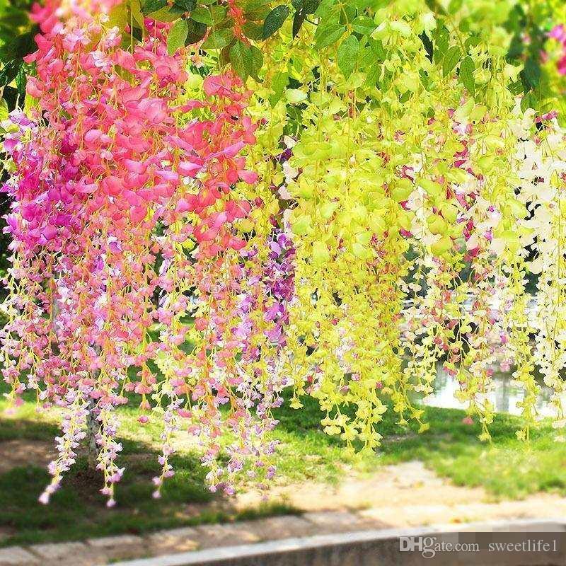 인공 등나무 가짜 매달려 덩굴 실크 단풍 꽃 잎 화환 식물 홈 가든 웨딩 장식 110cm