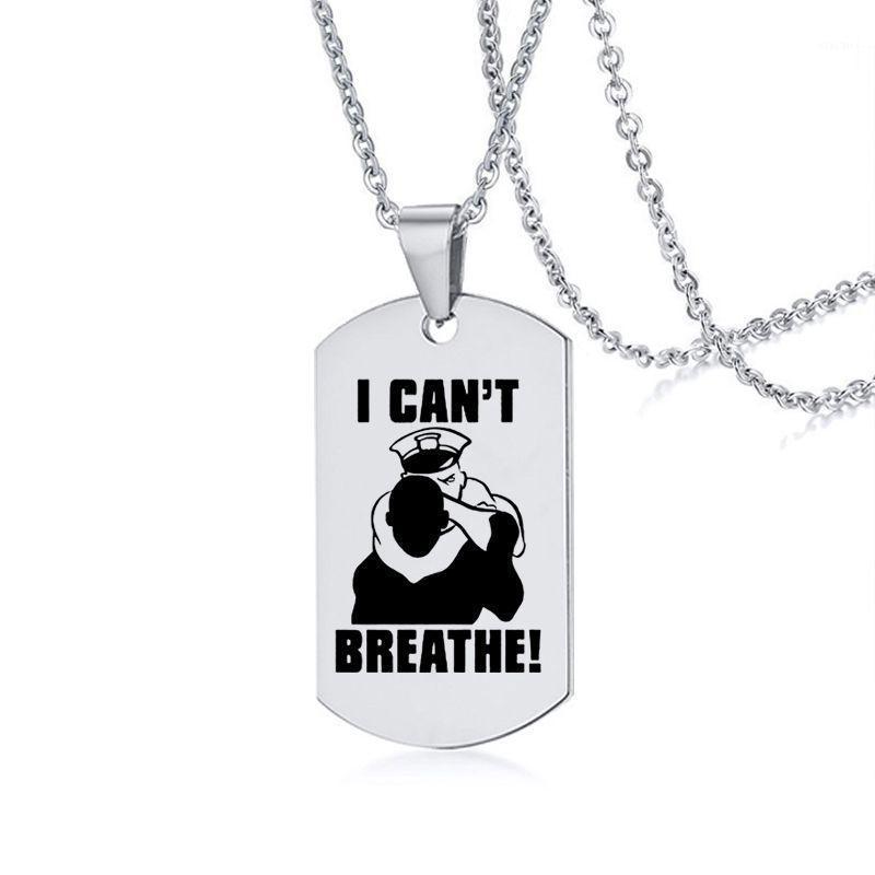 Colares pingentes Eu não posso respirar colar de protesto americano homens e mulheres negras lamentos negros matéria inoxidável em aço inoxidável1