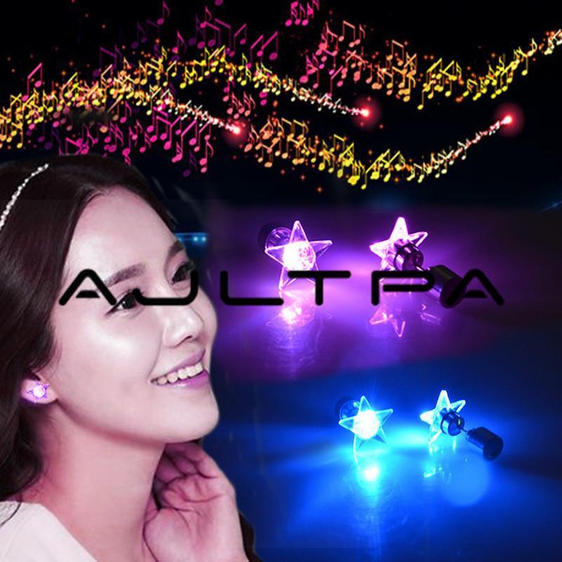 Rodada Estrela Coração Brinco CONDUZIU a Luz Para Cima Brilhantes Brincos Do Parafuso Prisioneiro Da Estrela Do Parafuso Prisioneiro Da Orelha Para DJ Dance Party Bar Menina