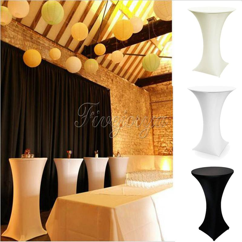 White/black/ivory Stretch Cocktail Lycra Dry Bar Spandex Table Cover Tablecloth Wedding Event Party Decor 60cm/80cm T8190620