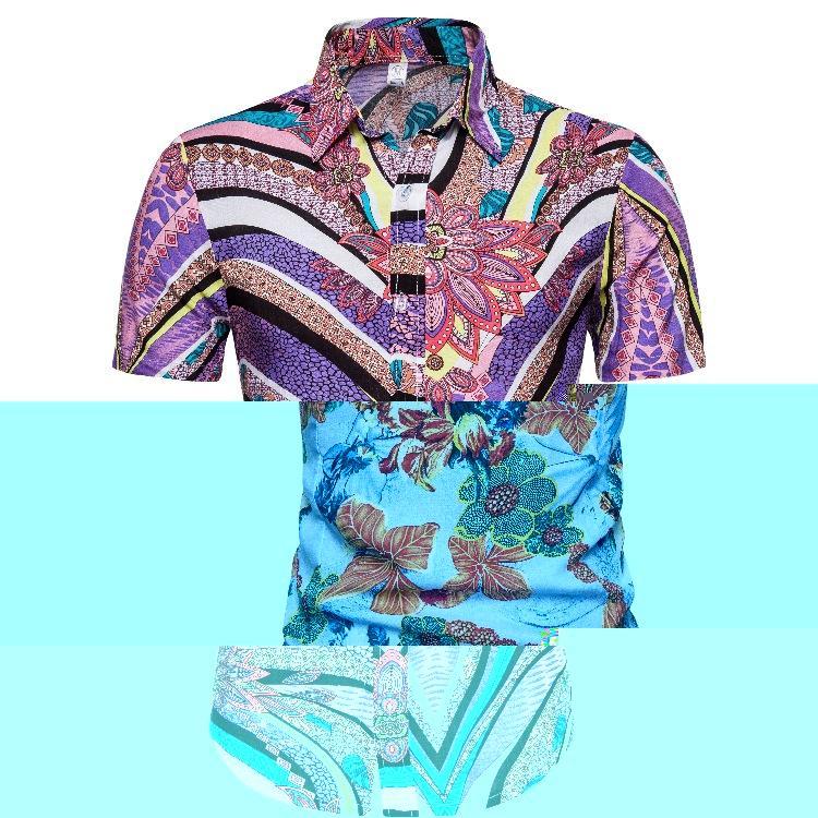 Männer Sommer nagelneue kurze Hülse Hawaii-Strandurlaub Business-Hemden in europäischen und amerikanischen Größen camisas hombre