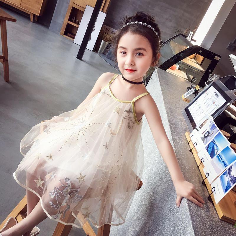 Einzelhandel Kinder Designer Mädchen Kleider Sterne bestickt Tüll Hosenträger Weste Kleid zurück in die Schule Prinzessin Kleid Kinder Boutique Kleidung