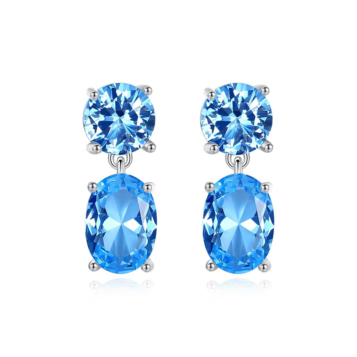 Luxo Topázio Azul Gota Brincos para Mulheres Wedding Engagement Fine Jewelry Prata Brincos Joyeria Fina Para Mujer SE0432