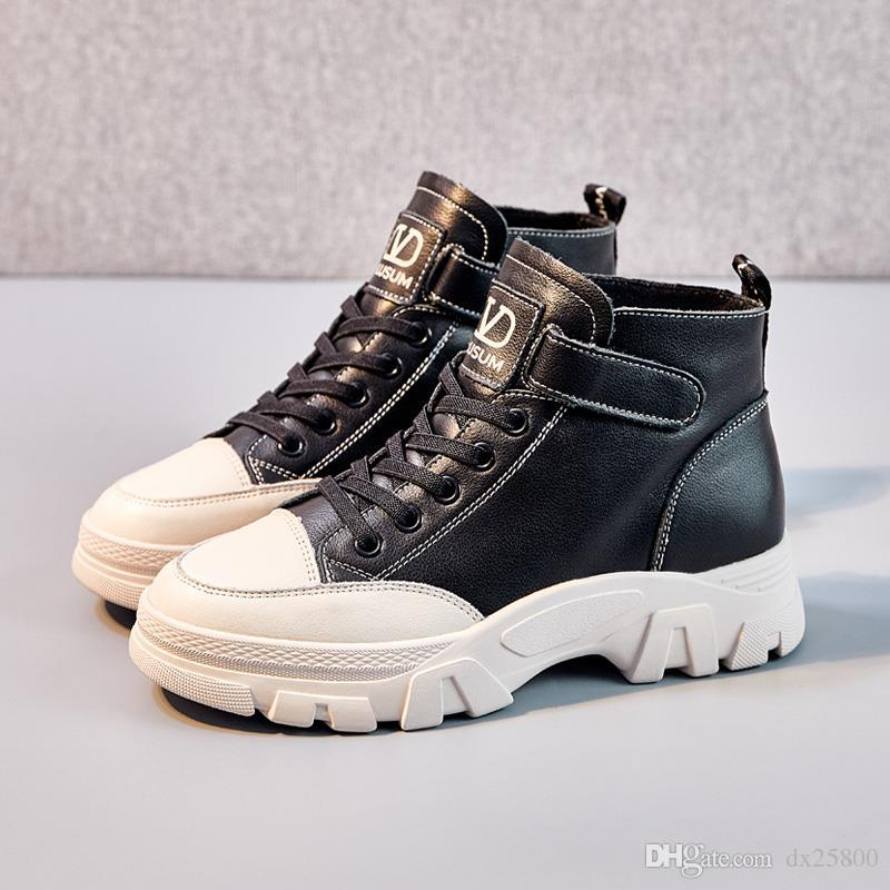 한국어 인 순 빨간색 마틴 부츠 여성 야생 플랫 2019 가을과 겨울 새로운 두꺼운 플랫폼 스키니 부츠 높은 신발