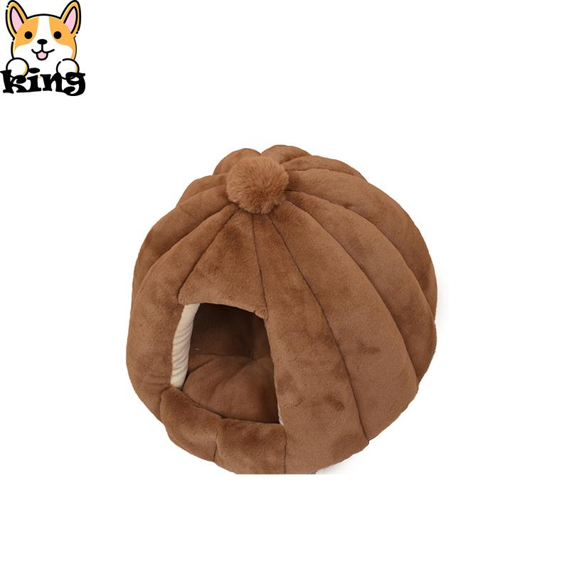 Round Dog Kennel Semi-closed Cat Kennel Velvet Autumn and Winter Nest Mat Pet Nest Small and Medium-sized Dog Pet House