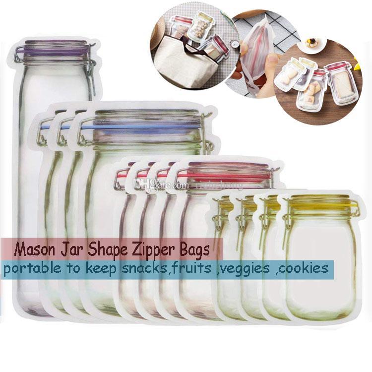 Portable Mason Jar Zipper Bags Reusable Snack Saver Bag Leak proof Food Sandwich Storage Bags Good For Travel