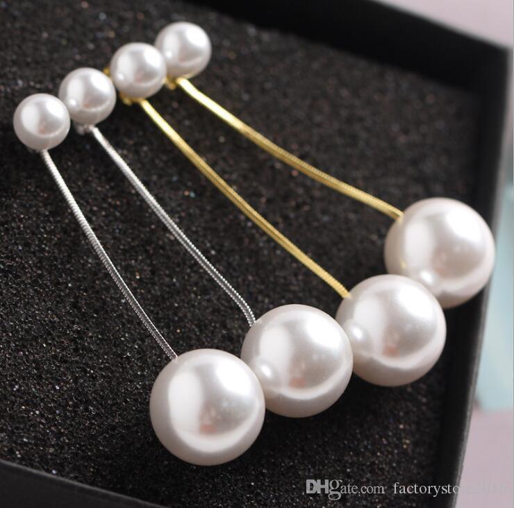 8mm + 16mm Perle Ohrringe Doppel Große Perle mit Gold Silber Box Kette Lange Quaste Erklärung Baumeln Ohrring Ohrringe für Party Hochzeit
