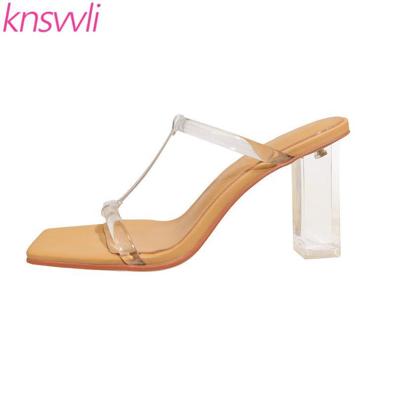 Тапочки Crystal Cleans Chunky Caels Женщина T Ремешок ПВХ Прозрачные Сандалии Мулы Высокая Летняя Всёшная Посадка Обувь