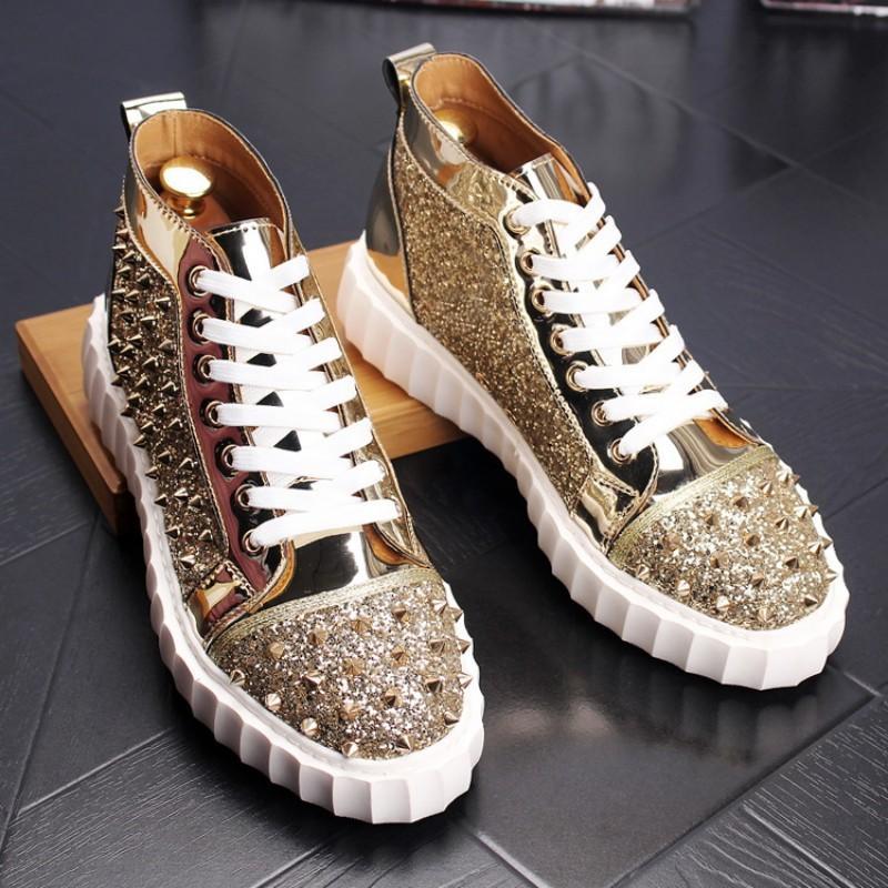 Triple confortables chaussures à semelles épaisses,-hauts sommets, chaussures rivets, mâle coiffeur, personnalité, chaussures haut sommet, haut rivet, bottines, W60