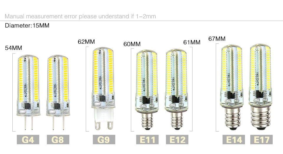 ضوء Led G9 G4 Led لمبة E11 E12 14 E17 G8 عاكس مصابيح 110V 220V أضواء المصابيح 3014 SMD 64 152 المصابيح الخفيفة