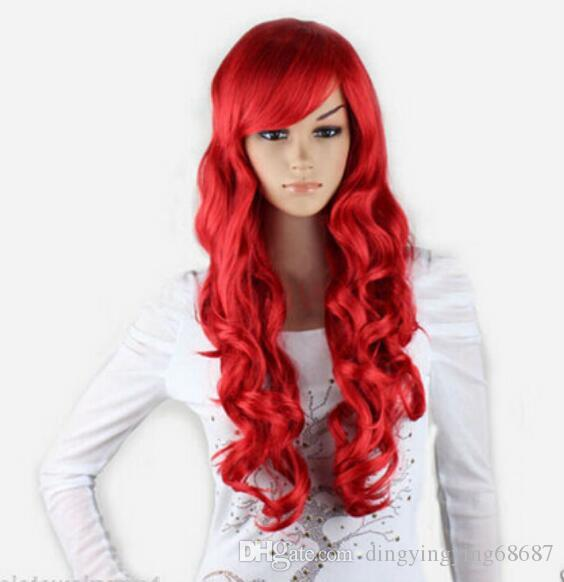 FREE SHIPPING+ ++New Cosplay Party Fashion Red Bang Anime Long Wavy Women Full Wigs