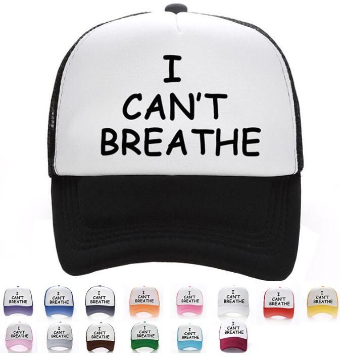 15styles Eu não posso respirar Hat Unisex Baseball Cap Mora Preto Matéria Parade Caps Carta de impressão chapéus das mulheres dos homens chapéus de festa GGA3463-1