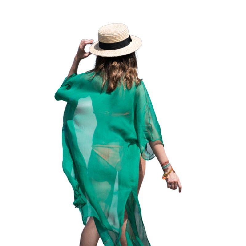 Womens Semi Sheer Summer Chiffon Sunscreen Kimono Cardigan Top Maxi Length Side Split Solid Color Bikini Cover Up Open Front Hal Soft And Light Women's Clothing