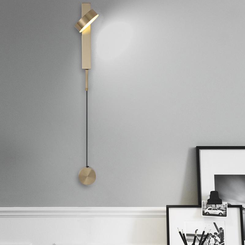 lámpara de pared de la cabecera nórdica decoración de la lámpara de pared creativo sencilla pasillo salón puede regulable LED lámpara de pared de 360 grados de rotación