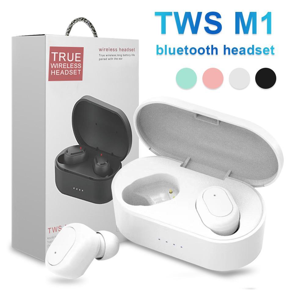الضوضاء الغاء سماعات M1 TWS في الأذن ستيريو بلوتوث 5.0 الرياضة ستيريو لاسلكي سماعات أذن مع صندوق البيع بالتجزئة