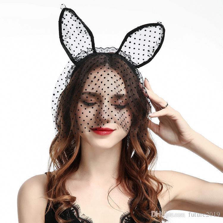 Girls Black Lace Cat Ears Hairband Fancy Dress Costume Headband Party