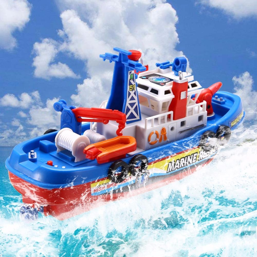 LED Toddler Baby Bath Boat Toy Rescue Squirt Ride In Water Time Squirting Ship