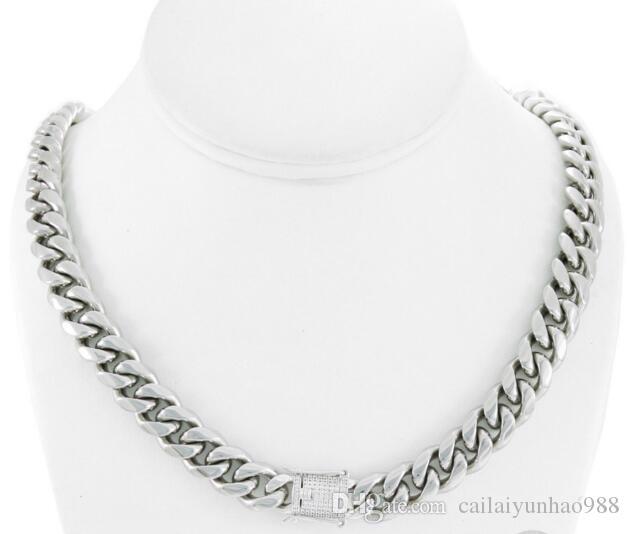 Erkek Miami Küba Link Zinciri 14 K Paslanmaz Çelik Katı 925 Gümüş Pırlanta Toka