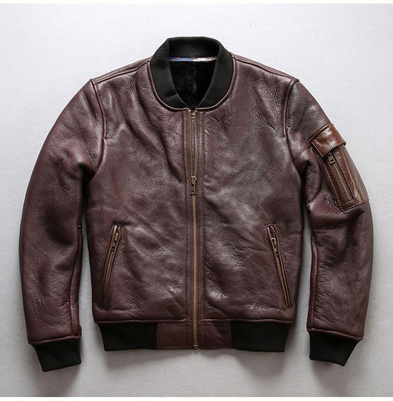 2019 темно-коричневый мода AVIREXFLY мужчины кожаные куртки бомбардировщик куртка ягненка меховая подкладка летные куртки натуральная кожа куртка