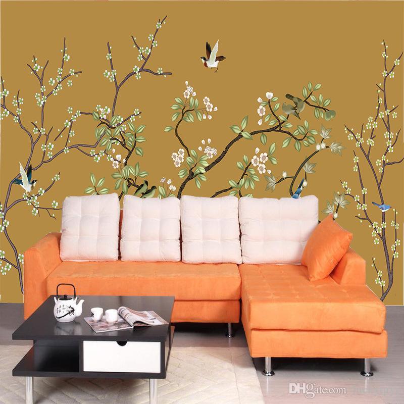 Grande quente mural TV fundo papel de parede sala de estar quarto não-tecido 3d papel de parede moderno Simples flor e pássaro personalização