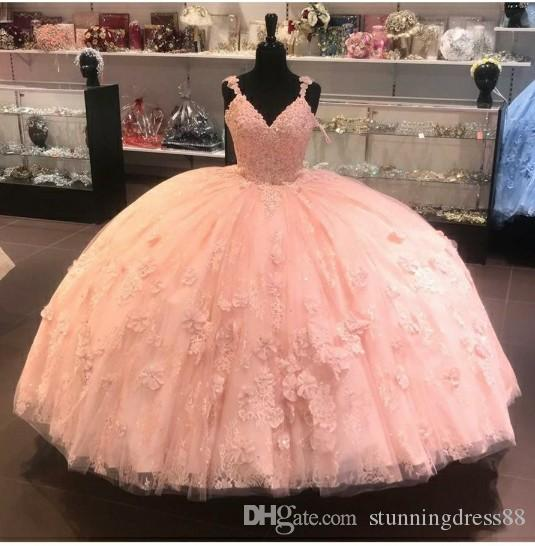 Modest 2021 Coral Quinceanera Prom dresses Ball Gown With Spaghetti Straps Applique Lace Sweet 16 Cheap Party Formal Dress Evening Gowns