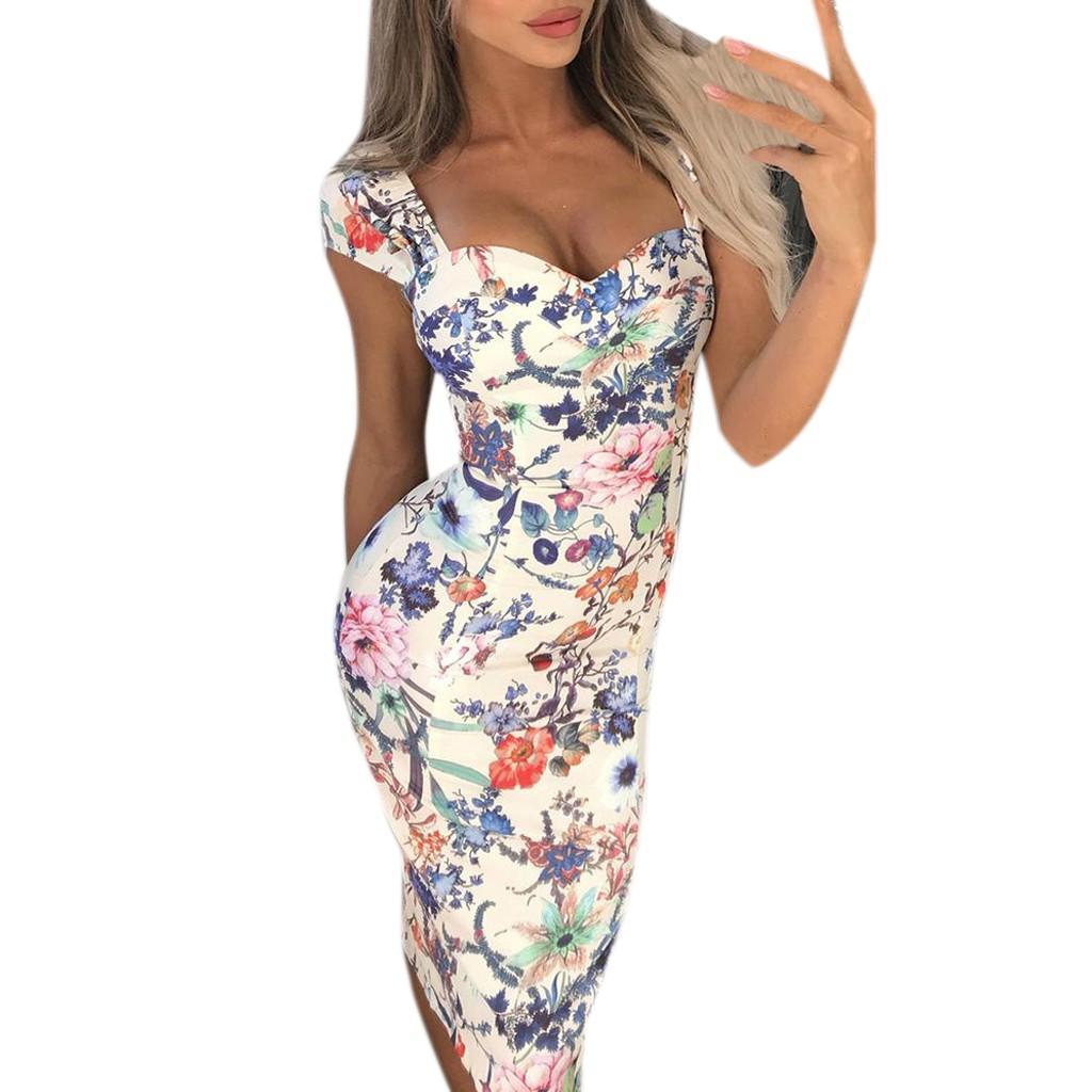 Vestido Vestidos Primavera Verão vestido Sexy Womens Multicolor Pint Festa Ladies férias frete grátis Mulheres Slim