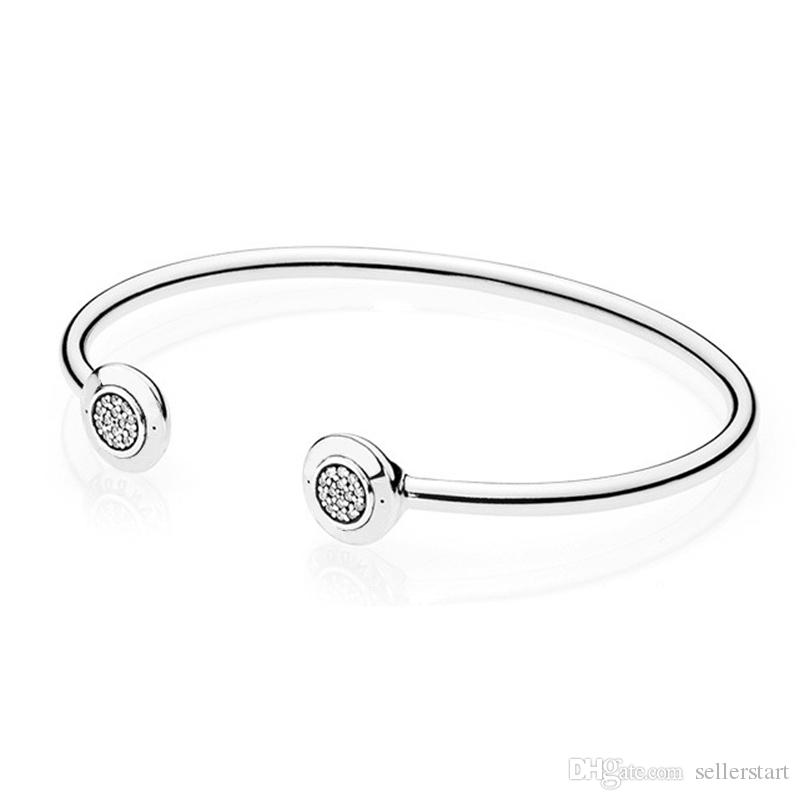 New personality open bracelet for Pandora 925 sterling silver plated 18K gold inlay CZ diamond high quality ladies bracelet with box