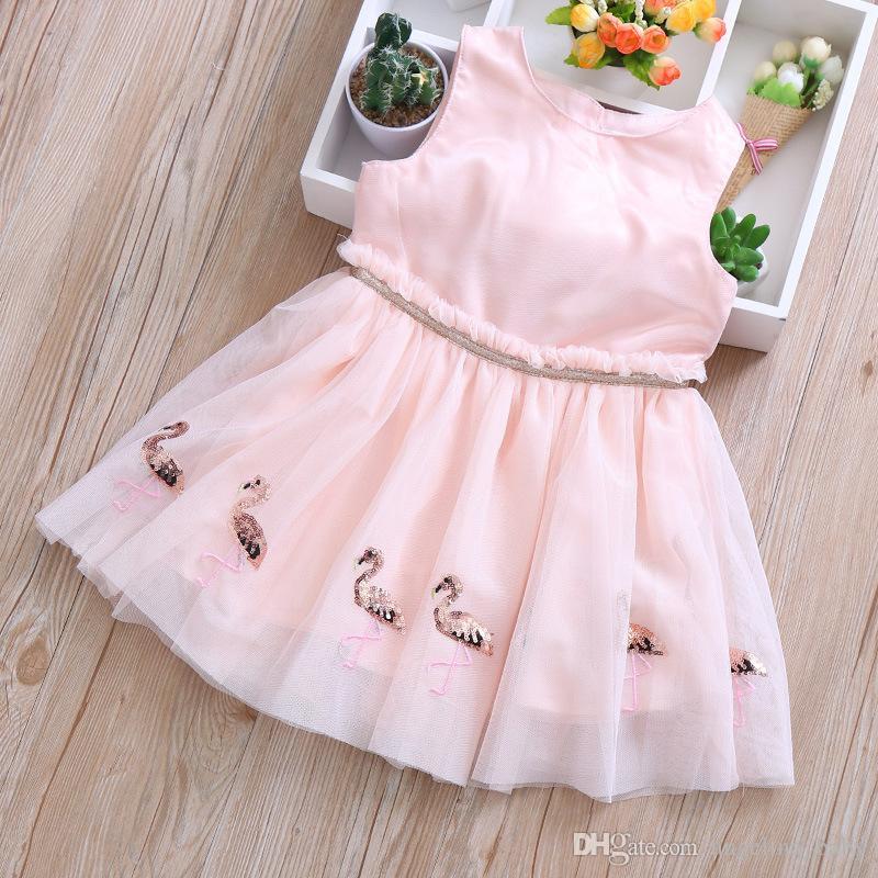 Bebê meninas flamingo vestido 2019 verão crianças flamingo lantejoulas mangas colete gaze vestidos crianças moda rosa princesa party dress