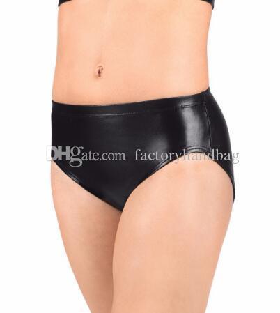 Femmes Basse Élastique Ceinture Adulte Métallique Danser Slip Gold Shiny Performance Shorts Sport Workout Team Underwear Noir