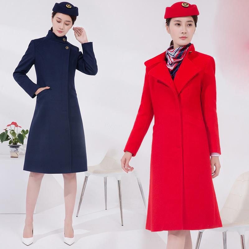 Air China CAAC aeromoça mulheres inverno casaco longo uniforme fino joelho Comprimento Brasão Robe lã vôo aeromoça Lady roupa
