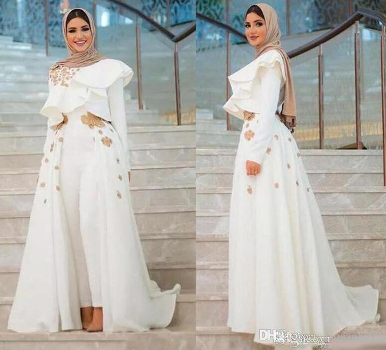 2019 Arabic middle east Long Sleeves Appliques Evening Formal Wear Long Sleeve Jumpsuits Prom Dress With Overskirts Cheap Women's Pant Suits