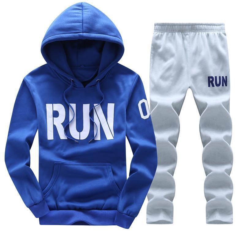 Men Tracksuits Outwear Hoodies Zipper Sportwear Sets Male Sweatshirts Cardigan Men Set Clothing+Pants Plus Size New Tide