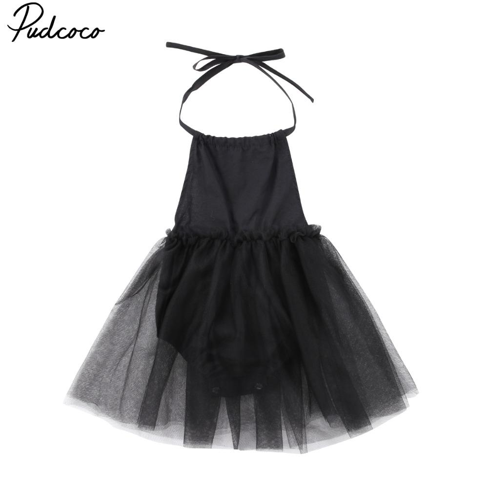 Pudcoco Kids Baby Girl Black Sling mesh Princess Dress Party Wedding Pageant Formal Dresses Clothes