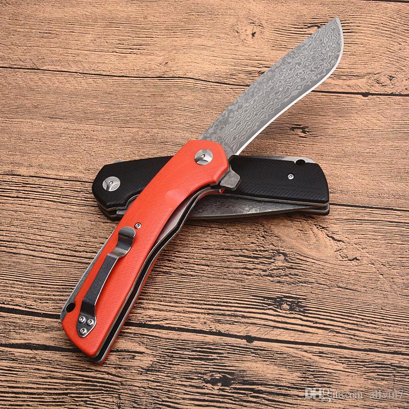 Qualitäts neue 3 Griff Farben Damaskus Flipper Folding Messer VG10 Damaskus-Stahlblatt G10 Griff im Freienüberlebensrettungsmesser