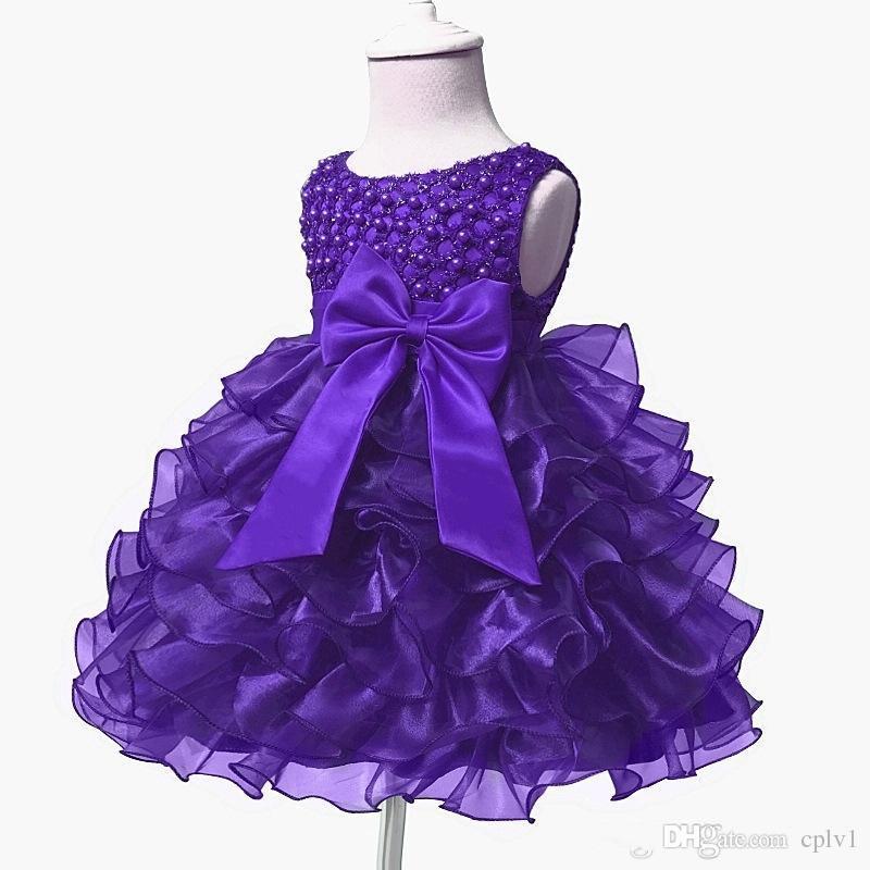 Neue Ballkleid Organza Mädchen Pageant Kleider Günstige Blumen Mädchen Kleider für Hochzeit Prinzessin Prom Party Kleider Für Geburtstag Baby Mädchen B004