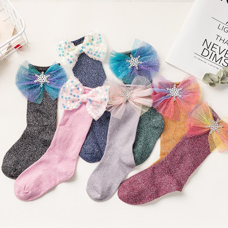 Baby Girls Socks Spring Autumn Big Bow Knot children Socks 2020 Fashion Kids Bow Princess Ankle High Socks 5 colors Z0280