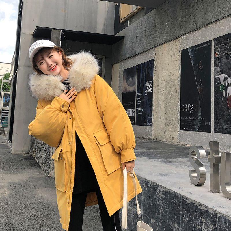 2018 Velvet Cotton-padded große Tasche Jacke Mode Winterjacke für Frauen-Pelz-Kragen-Mantel-Frauen Gelb Damen Oberbekleidung Parkas