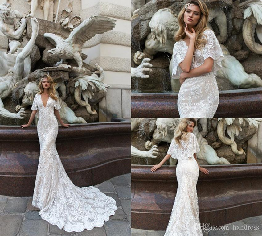 2020 Crystal Design Mermaid Wedding Dresses Deep V Neck Sweep Train Lace Tulle Appliques Bell Sleeve Country Bridal Dress Vestido De Novia 4