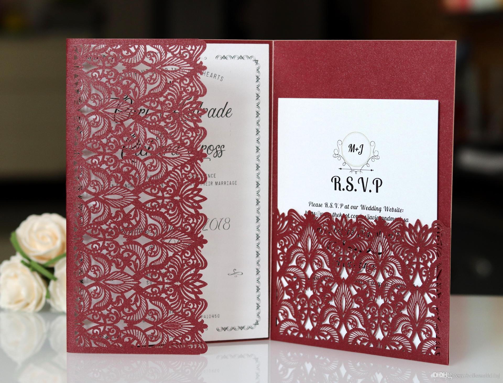Лазерная резка свадебные приглашения с RSVP карты Бургундия индивидуальные цветы сложенные свадебные приглашения карты с конвертами BW-HK153B